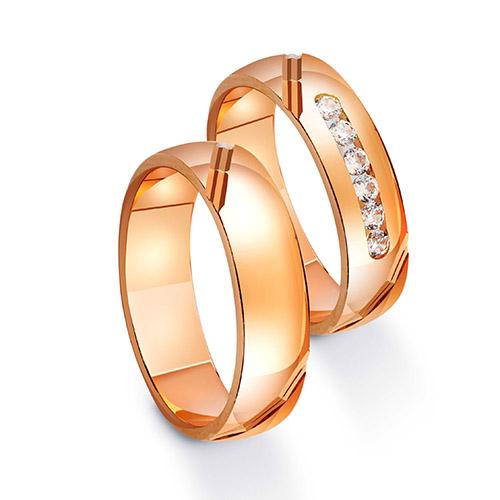 Парные обручальные кольца из красного золота