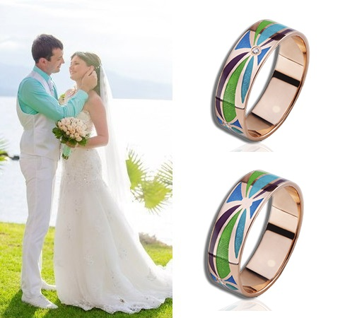 Обручальные золотые кольца с эмалями