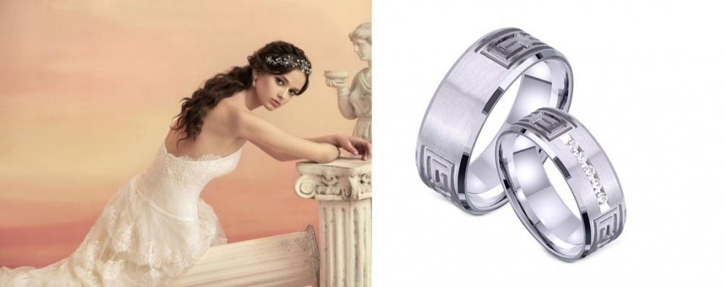 Парные обручальные кольца в белом цвете