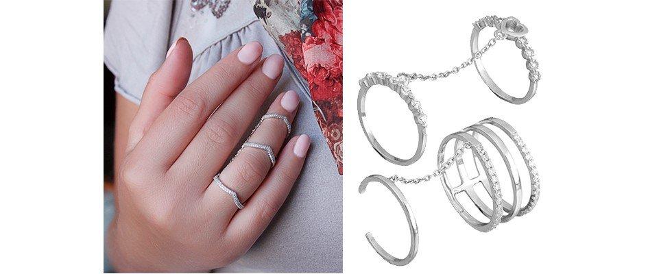 Женские серебренные кольца на фалангу