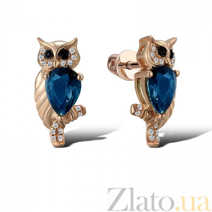 Купить серьги из красного золота сова с бриллиантами и топазами ... fec8d221477