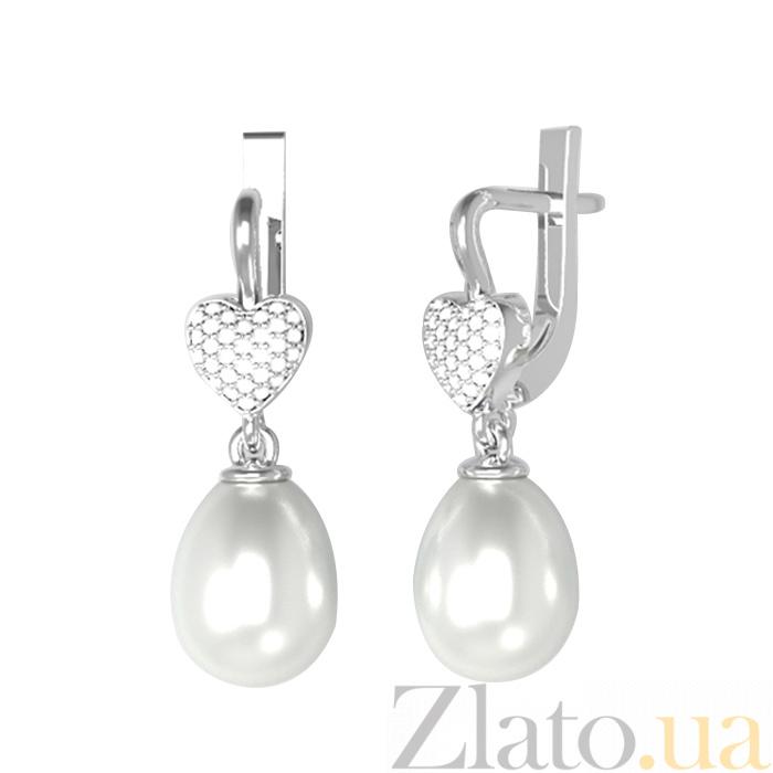 7d12b4c64be9 Купить серебряные серьги-подвески зоряна с белым жемчугом и ...