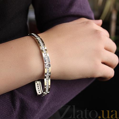 ... Серебряный браслет с золотыми вставками и цирконием Дуэт BGS--79 10Б e7273128870