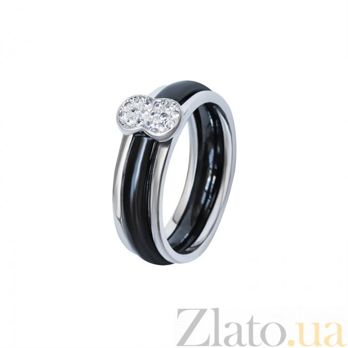 df77830f1b0d Купить кольцо из черной керамики и серебра манчестер с фианитами ...