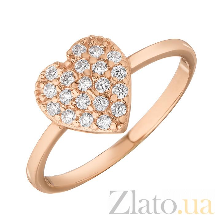 Золотое кольцо Сердечко в красном цвете в усыпке фианитов 000071429 ... 109cae441e410