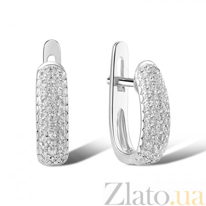 сережки из белого золота с бриллиантами фото