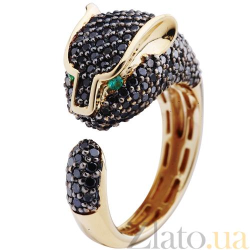 Золотое кольцо Пантера с черными бриллиантами и изумрудами  KBL--К1707 крас чбрил 626177625cb8a