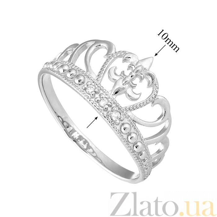 74ddde5abcc7 ... Серебряное кольцо Диадема с тремя белыми фианитами и родиевым покрытием  000066264