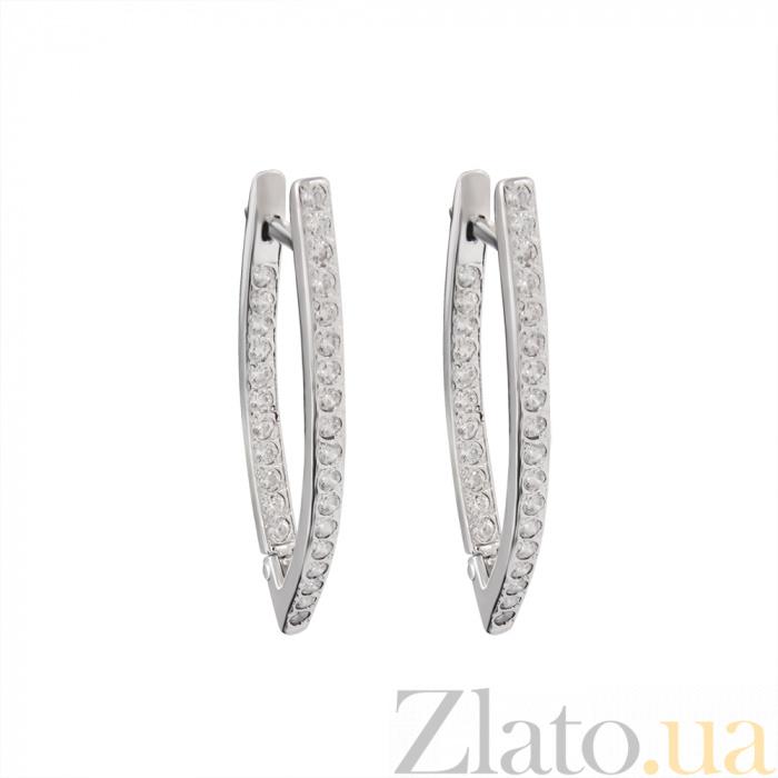 326d1e22a7e0 Серебряные серьги Виктория с дорожками белых фианитов на передней и  внутренней части