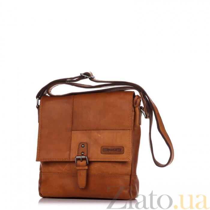63880dc503f8 Кожаная мужская сумка HILL BURRY 2040 коричневого цвета с клапаном и  карманом на молнии