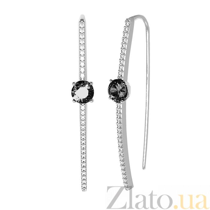 5bd07efb63b8 Купить серебряные серьги-протяжки акцент с черными и белыми ...