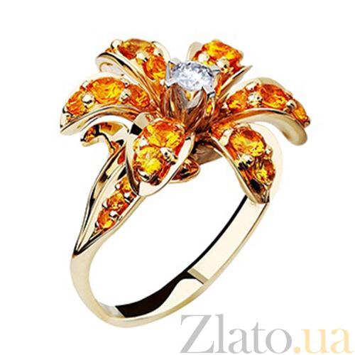 Золотое кольцо с сапфирами и бриллиантами Маргарита KBL--К1555 желт сапф 4258c2a86cc