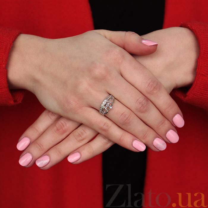 267303dfc45a ... Серебряное кольцо Диадема с тремя белыми фианитами и родиевым покрытием  000066264 ...