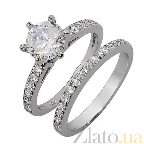 9bfaaf1313c4 Купить Двойное серебряное кольцо с фианитами Ильмира 000015052 в ...