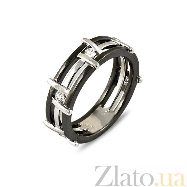 ebf18131bd4e Обручальное кольцо Модерн из белого золота с черным и белым родием и  бриллиантами