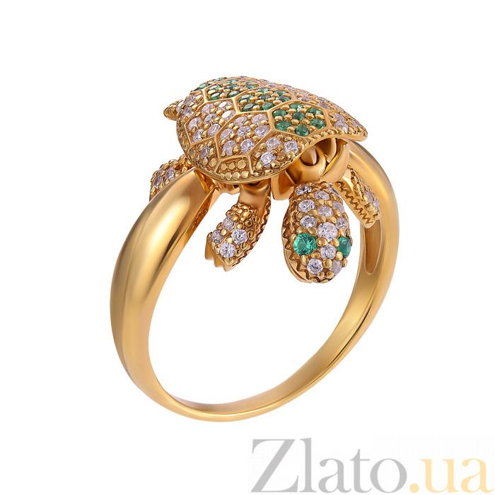 Золотое кольцо Черепашка с подвижными деталями в изумрудах и прозрачных  топазах 882597a188d4a